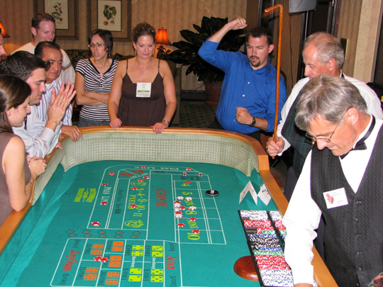 craps tables and dealers for casino parties