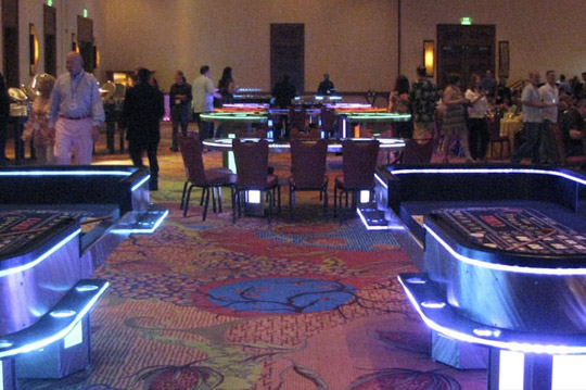 Lighted Tables Set Up for Casino Parties