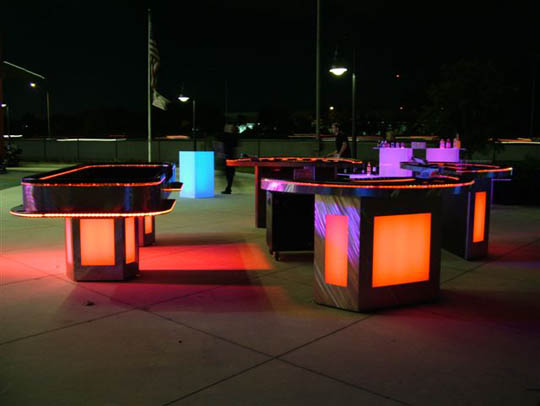 illuminated casino tables for casino parties