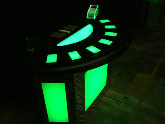 Green Lighted Black Jack Table for Casino Parties