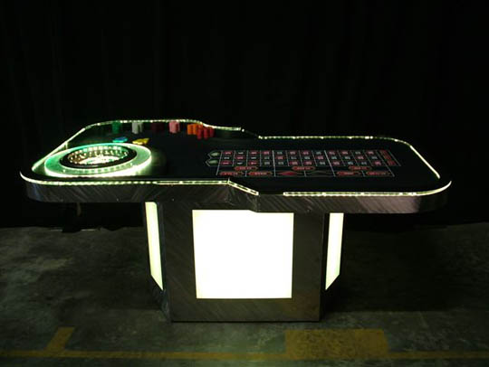 White Lighted Roulette Table for Casino Parties