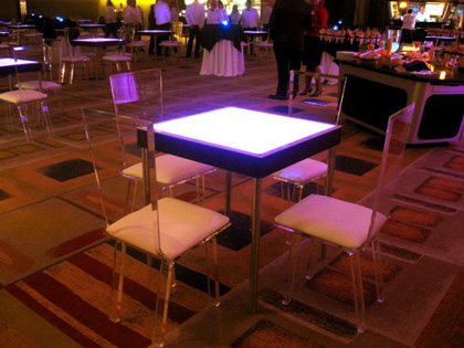 lighted contemporary square cocktail table