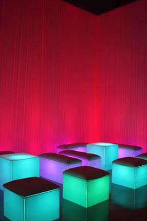 Blue, Lighted, Cocktail Tables ( lo-boy ) sit down