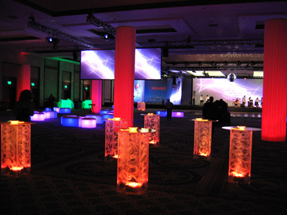 Red, Lighted, Cocktail Tables ( hi-boy ) for parties and receptions
