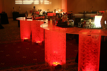 LED Lighted, Red, Acrylic bar for rent - for parties and receptions