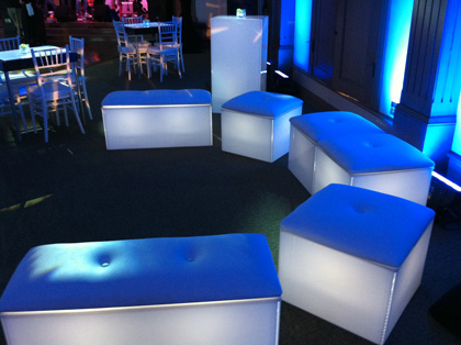 Blue, Lighted, Lounge Furniture and Tables